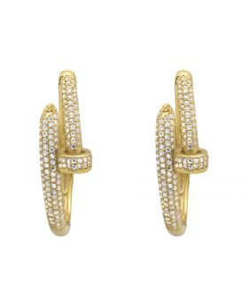 Yellow Gold Finish Large Designer Nail Hoops