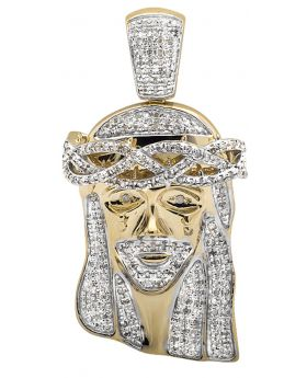 10K Yellow Gold Jesus Face Diamond Pendant Charm (1.0ct.)