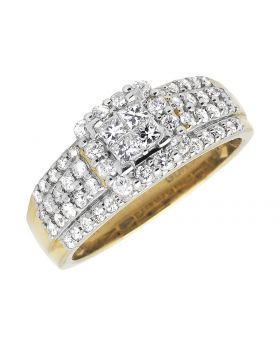 Ladies Princess Cut Square Cluster Invisible Diamond 14k Yellow Gold Engagement Ring .97ct