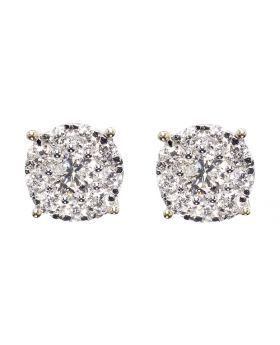 9mm Solitaire Look Earrings in Yellow Gold(1.25ct)