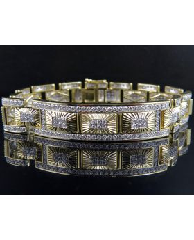 Men's 10K Yellow Gold Genuine Diamonds ID Style Designer Bracelet 8.5 ct