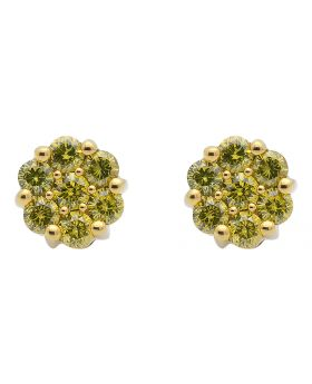 8mm Canary Diamonds Unisex Flower Cluster Earrings Studs in 10k Yellow Gold 1ct
