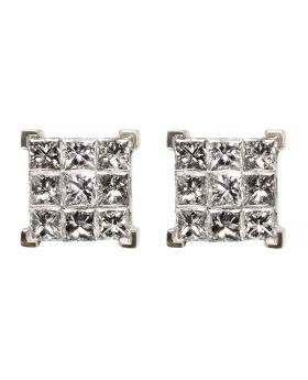 Princess Cut Earrings in Yellow Gold (1.16ct)