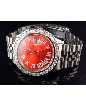 Mens Rolex Date Just Red Diamond Dial with Jubilee band (4.5 ct)