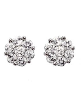 8mm Flower Earrings in White Gold Finish (1.0 ct)