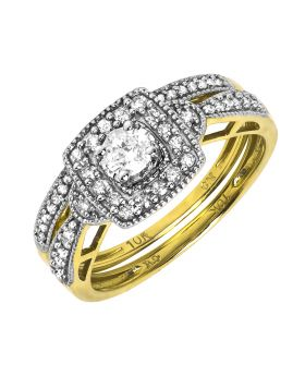 10k Yellow Gold Ladies Round solitaire Diamond Bridal Ring Set (0.47 ct)