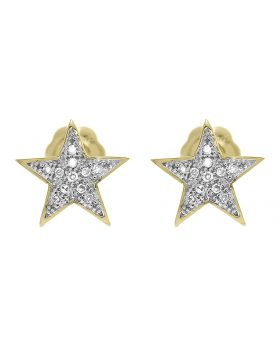 8mm Star Diamond Earrings in Yellow Gold (0.05 ct)