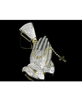10K Yellow Gold Rosary Praying Hands Real Diamond Pendant 1.3ct