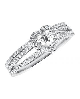 Heart Shape Round Diamonds 14k White Gold Split Shank Engagement Ring Set .68ct