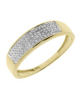 Mens 6mm Pave Diamond Wedding Band Ring in Yellow Gold (0.15 ct)