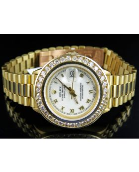 18K Ladies Yellow Gold Rolex Presidential Datejust with 3.0 Ct Bezel