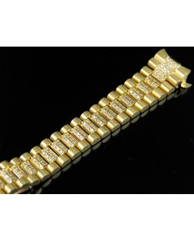18K Ladies Yellow Gold President Diamond Band for Rolex 13 MM Lug Size 4.0 Ct