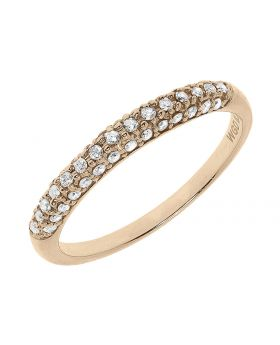 10k Rose Gold Pave Diamond Domed Band (0.25 ct)