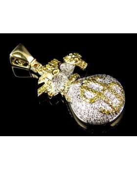 10K Yellow Gold Genuine Canary Diamond Money Bag Pendant (1.25ct) 1.50""