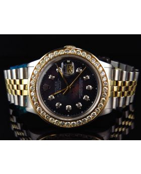 Rolex Datejust Jubilee 18k Stainless Steel with Black Dial Diamond Watch (4.5 Ct)