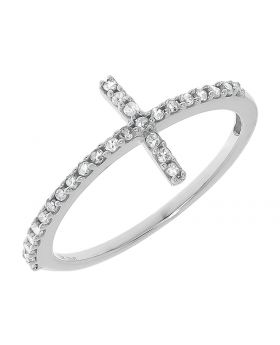 Sideways Diamond Cross Ring in White Gold (0.20 ct)