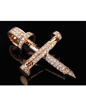 Solid 14k Rose Gold Nail Cross Genuine Diamond 1.3 Inches Pendant (0.80CT)