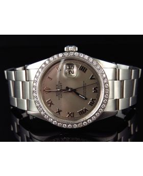 Rolex Datejust Oyster Stainless Steel with Grey Dial Diamond Watch (2.5 Ct)