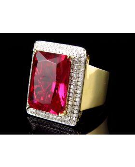 Yellow Gold Silver Genuine Diamond Bezel Simulated Ruby Center Ring (1.0Ct)