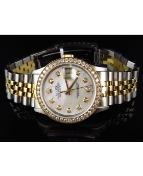 Rolex Datejust Jubilee 18k Stainless Steel with White Dial Diamond Watch (2.5 Ct)