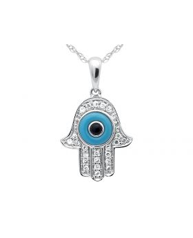 Hamsa Diamonds Necklace Pendant 14k White Gold Singapore Chain 16in .25ct