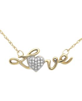 Ladies Love With Heart Diamond Pendant Necklace 14k Yellow Gold Singapore Chain 17in .10ct