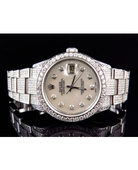 Rolex Datejust Stainless Steel with White Pearl Dial Diamond Watch (9.5 Ct)