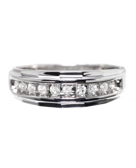 Mens 8.5mm Diamond Band in White Gold (0.25 ct)