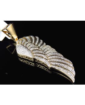 10K Yellow Gold Genuine Diamond Single Angel Wing Pendant (1.15 ct)