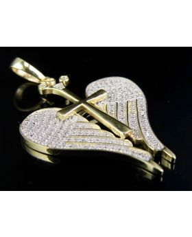 10K Yellow Gold Genuine Diamond Angel Wings With Cross Pendant (0.60ct) 1.5""