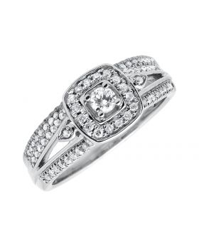 Ladies Round Cluster Diamonds Split Shank Wedding Engagement Ring Set .50ct