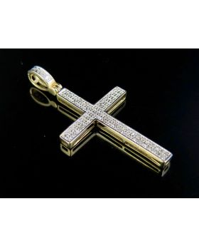 "Pave Diamond Cross in 10k Yellow Gold 1.3"" (.22 Ct)"