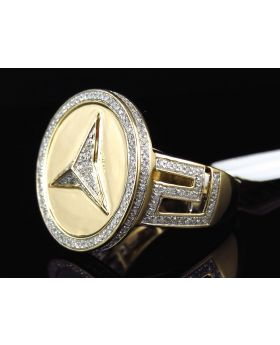 10k Yellow Gold Mens Diamond Foreign Logo Pinky Ring (1.0ct)
