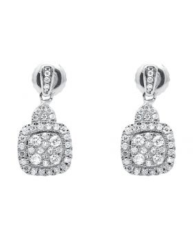 Womens Square Dangling Round Pronged Diamonds Earrings In 14k White Gold .47ct