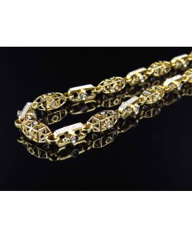 Mens Solid 14K 6 MM Diamond Link Chain Necklace (30 Inch, 5 Ct)