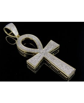 Men's 10K Yellow Gold Iced Ankh Cross Genuine Diamond Pendant 1.9CT 3.2""