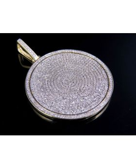 Men's 10k Yellow Gold Real Diamond Iced Medallion Pendant Charm 1.75 ct