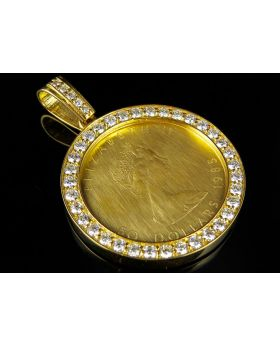 24K Large Canadian Elizabeth 1 OZ Coin VS Diamonds Pendant Charm 4.25ct