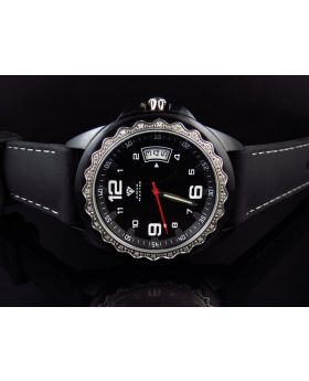 Mens Aqua Master Black PVD Silicon Strap Diamond Watch 0.25 Ct