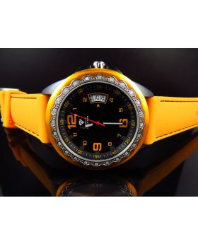 Mens Aqua Master Black PVD Orange Silicon Strap Diamond Watch 0.25 Ct