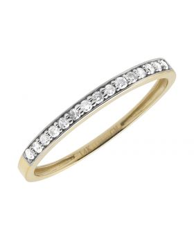 Bridal 14k Yellow Gold Round Genuine Diamond Wedding Enagagement Ring Band .15ct
