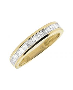 10K Yellow Band Ladies Channel Set  Baguettes Wedding Band .49ct