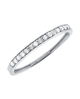 Ladies White Gold Wedding Band Shared Prong Band (0.15ct)