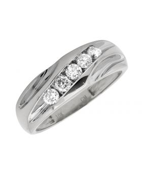 10k White Gold Men's Diagonal Diamond Channel Set 7mm Wedding Band 0.50Ct