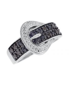 Ladies White Gold Finish Black Diamond Belt Buckle Fashion Ring (0.15ct)