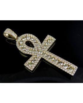 Solid 14K Yellow Gold Pave Set Ankh Genuine Diamond Cross 13.75Ct