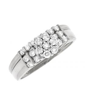 10K White Gold Solitaire Infinity Engagement Wedding Bridal Ring Set 0.51Ct
