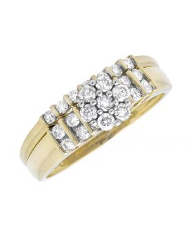 Ladies Yellow Gold Flower Cluster Channel Set Engagement Bridal Wedding Ring Set (0.50ct)