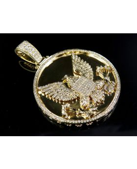 "14K Yellow Gold Mid-Flight Eagle 2"" Medallion Diamond Pendant Charm 2.5ct."