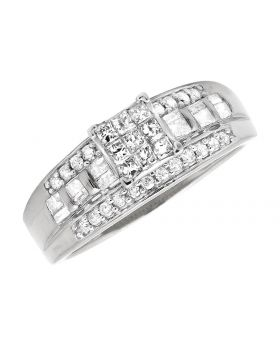 10K White Gold Princess Cut Round Diamond Baguette Wedding Engagement Ring 0.54Ct